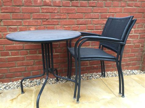 ikea garden table 2 chairs grey metal and plastic