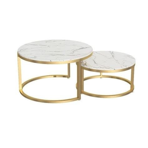 Shop over 340 top round glass coffee table and earn cash back all in one place. Nordic Style Coffee Table Gold Metal & White Marble Living Room Accent Table with Round Top Set ...
