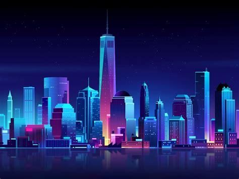 wallpaper  york city neon nightscape cgi