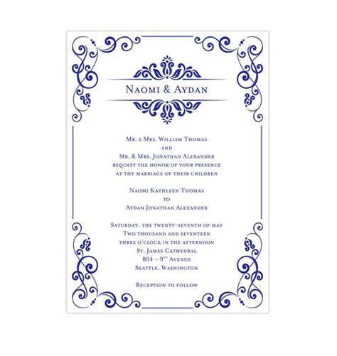 julia wedding invitation royal blue wedding template shop