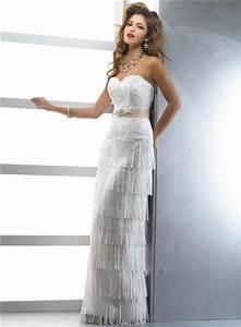 unique couture sheath sweetheart lace fringe wedding dress With fringe wedding dress