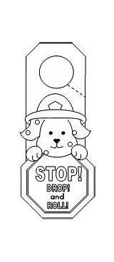 Fire Safety Preschool Drop Roll Stop Door Hanger Coloring Activities Hangers Pages Worksheets Crafts Doorknob Printables Sheets Cut Safe Firefighter sketch template