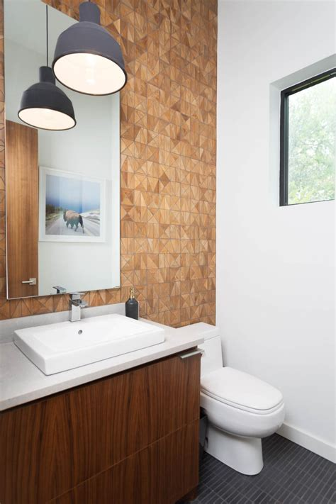 modern powder room  wood geometric wall tiles hgtv