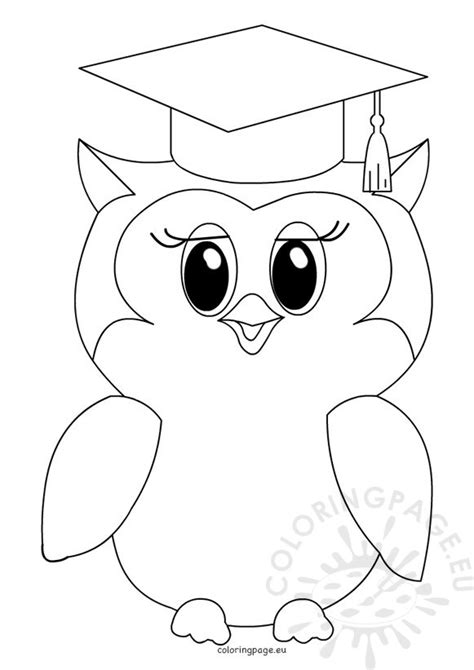 Graduation Dog Color Pages Owl Coloring Page