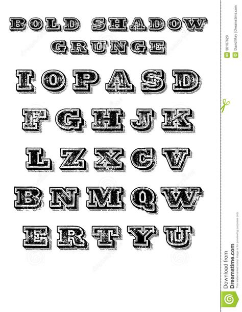 bold shadow grunge font royalty  stock images image