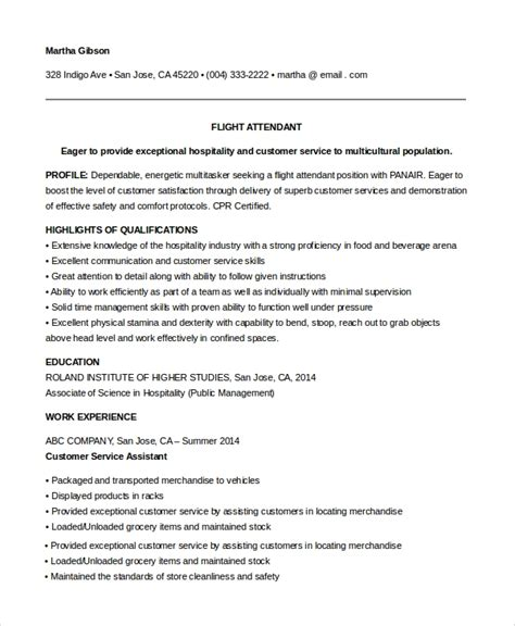 Entry Level Pilot Resume by Sle Flight Attendant Resume 6 Exles In Pdf Word