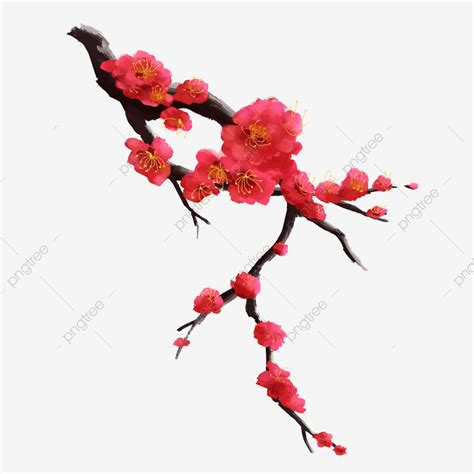 ancient style ink plum blossom winter red branch flower