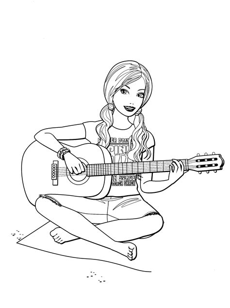 coloring page barbie  guitar