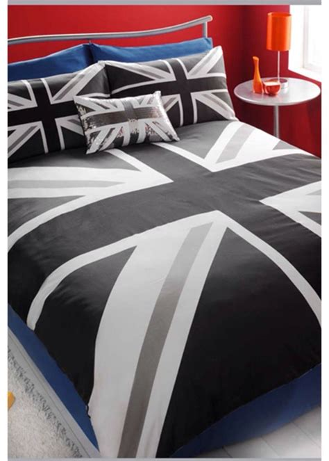 Black White Grey Retro Union Jack Kingsize Duvet Set Boys