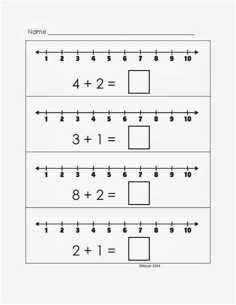 addition worksheets with number line for kindergarten