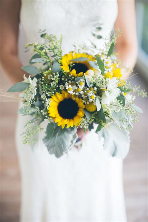 Bridal Bouquets Sunflower Wedding Sunflower And Wheat