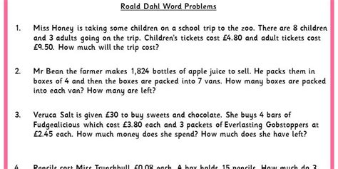 roald dahl word problems classroom secrets