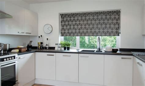 kitchen blinds contemporary silver grey contemporary geometric patterned kitchen 5579