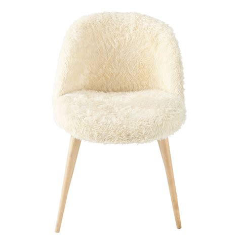 faux fur and solid birch vintage chair in ivory mauricette maisons du monde