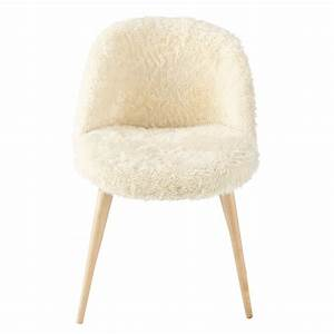 faux fur and solid birch vintage chair in ivory mauricette With chaise maisons du monde