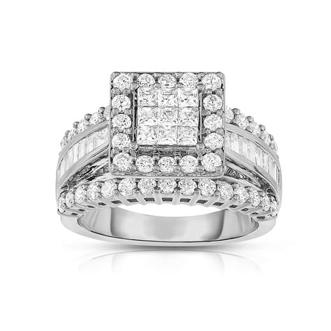 2 cttw square cut 14k white gold engagement ring size 7 only