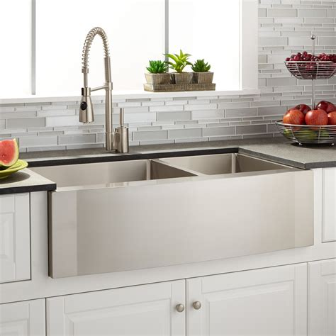 36 farmhouse apron sink 36 quot optimum 60 40 offset double bowl stainless steel