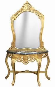 Console Baroque Noire : console avec miroir de style baroque en bois dor et marbre noir ~ Teatrodelosmanantiales.com Idées de Décoration
