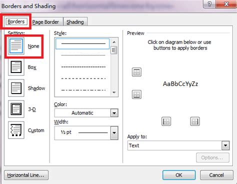 how to remove all horizontal lines from word document
