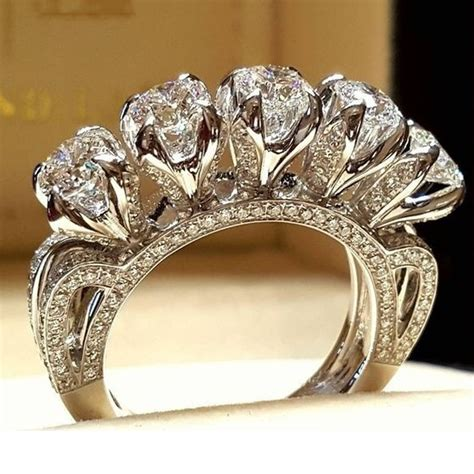 best selling creative five zircon engagement ring for fashion unique wedding rings charm