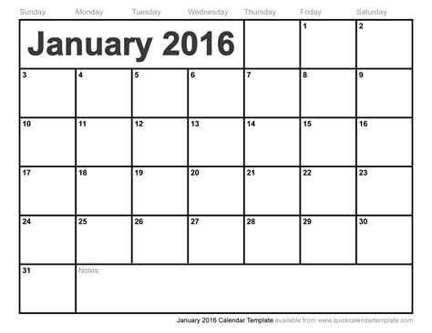 free calendar templates january 2016 calendar template