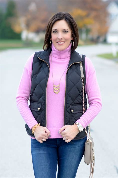 Winter Outfit Ideas Wool Turtleneck Quilted Vest