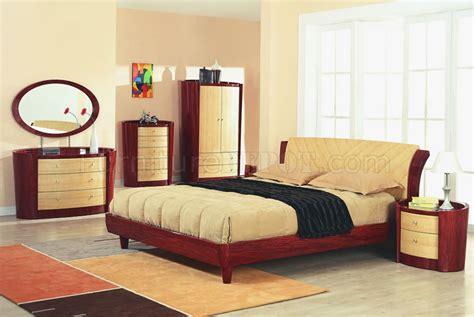 cherry maple high gloss finish contemporary bedroom set
