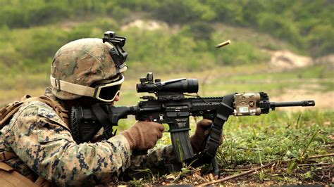 wallpaper hk soldier heckler koch assault rifle firing camo  action military