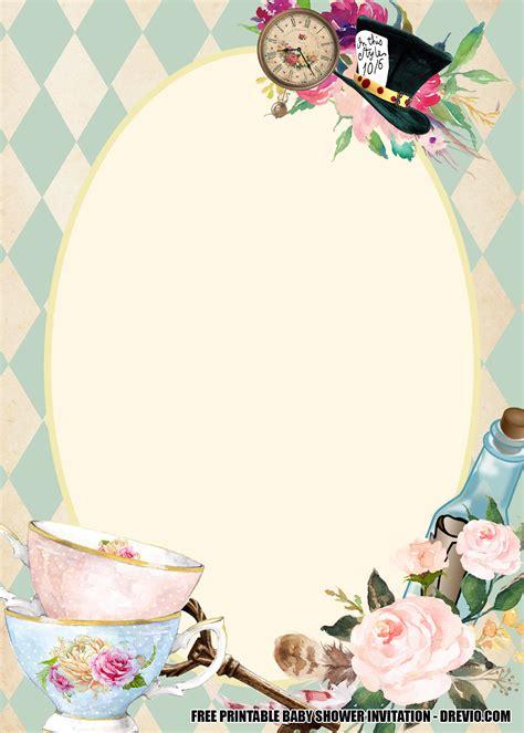 alice  wonderland baby shower invitation template