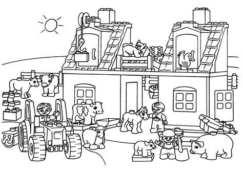 Lego Farm Coloring Page For Kids, Printable Free. Lego