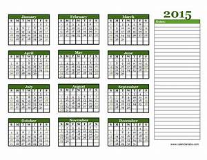 2015 yearly calendar free printable templates With 2015 yearly calendar template in landscape format