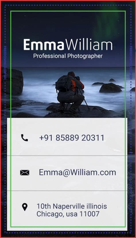 photographer business card template freedownloadpsdcom