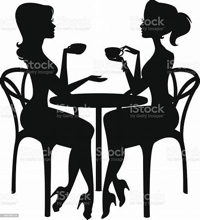 Coffee Having Friends Silhouettes Vector Illustrations Clipart