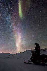 Aurora Borealis Snowy Night Landscape