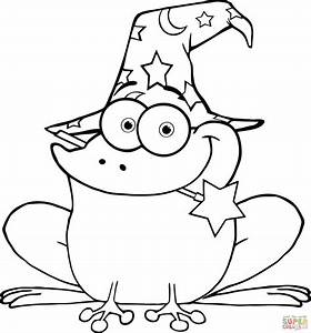free printable frog coloring pages - wizard frog with a magic wand in mouth coloring page