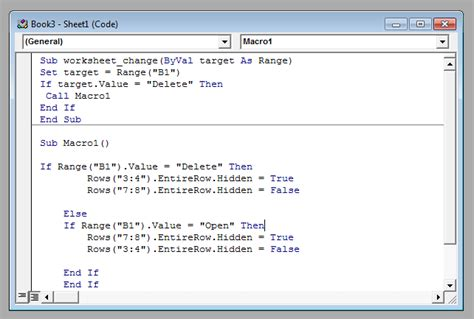 excel macro query hiding rows based on cell value stack