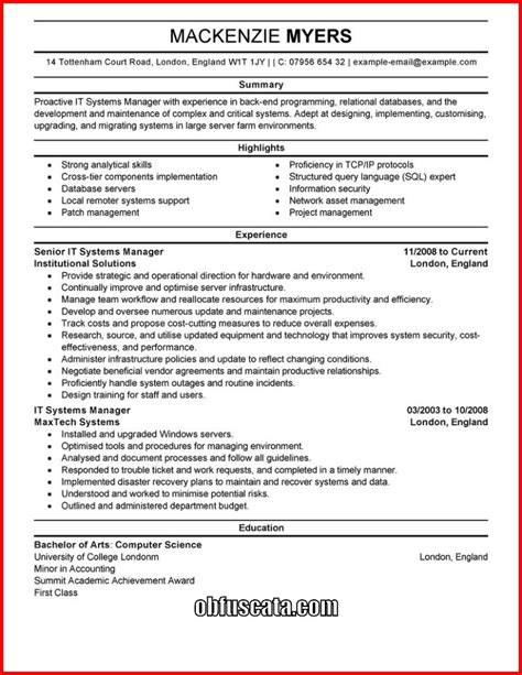 Resume Template Exles by It Cv Template Cv Templates Professional Curriculum