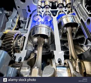 Inside View Of Engine  Close Up Detail Of Two Pistons In Cylinder Stock Photo  Royalty Free