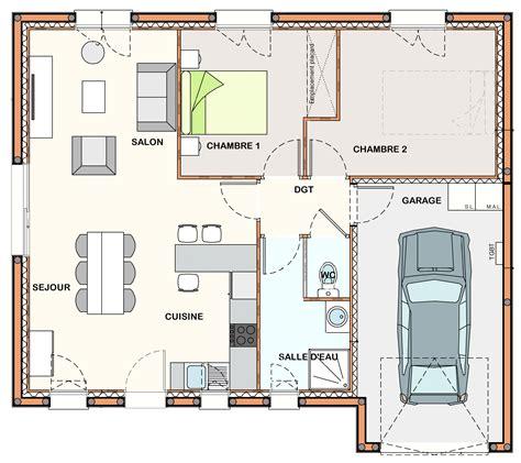 plan maison plain pied 1 chambre beau plan maison de plain pied 3 chambres 1