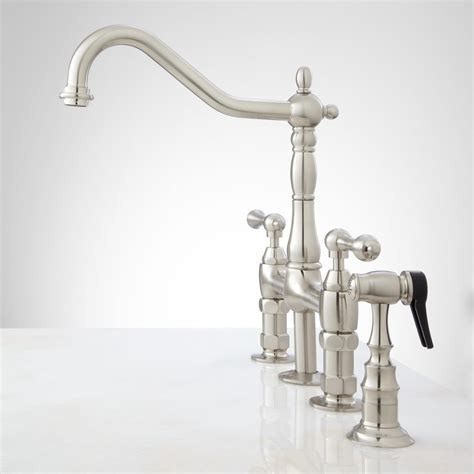 Kitchen Faucet Bellevue Bridge Kitchen Faucet With Brass Sprayer Lever Handles Kitchen