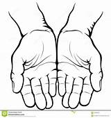 Hands Palms Empty Vector Drawing Clip Cupped Clipart Coloring Illustration Palm Giving Praying Icon Royalty Sketch Graphics Illustrations sketch template