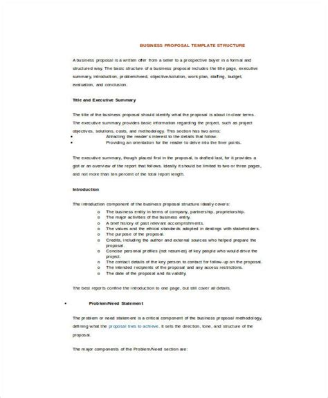 business proposal format template business
