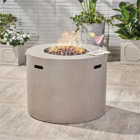 """The allure of sitting around. Alison Outdoor 31"""" Light Weight Concrete Round Gas Burning Fire Pit, Light Gray - Walmart.com ..."""