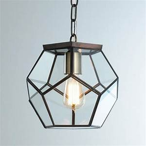 Clear glass prism pentagon pendant light geometric