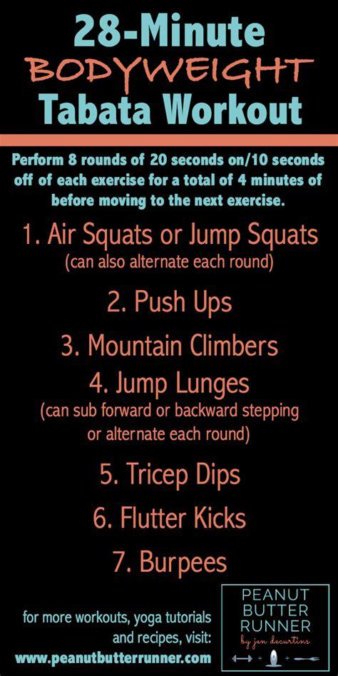 minute bodyweight tabata workout