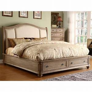 Coventry Upholstered Sleigh Storage Bed in Weathered