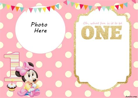 Minnie Mouse Template Invitation by Free Printable Minnie Mouse 1st Invitation Templates