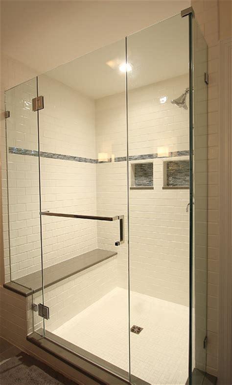 large tile shower  bench traditional bathroom dc