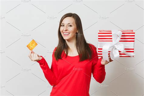 beautiful woman holding credit card high quality people