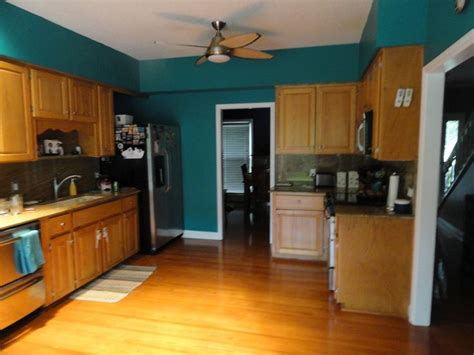 teal walls   white cabinets kitchens pinterest